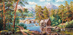 Borduurpakket Landscape with a Watermill - Alisa