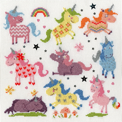 Borduurpakket Dale Simpson - Slightly Dotty Unicorns - Bothy Threads