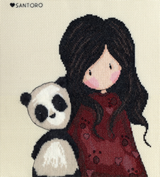 Borduurpakket Gorjuss - Panda Girl - Bothy Threads