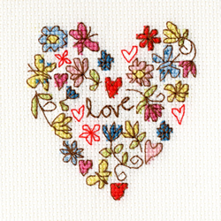 Borduurpakket Kim Anderson - Sweet Heart Card - Bothy Threads