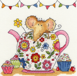 Borduurpakket Mouse - Teapot Mouse - Bothy Threads