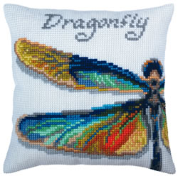 Cushion cross stitch kit Dragonfly - Collection d'Art