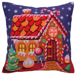 Kussen borduurpakket Gingerbread Lodge - Collection d'Art