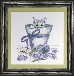Borduurpakket Flowerpot Kitty - Design Works