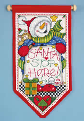 Borduurpakket Santa Stop Here - Designs Works