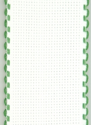 Aida band 5 cm White-Xmas Green Scalloped Edge - Fabric Flair