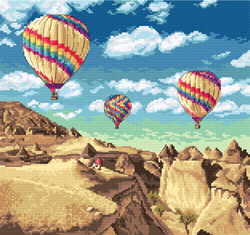 Borduurpakket Balloons over Grand Canyon - Leti Stitch
