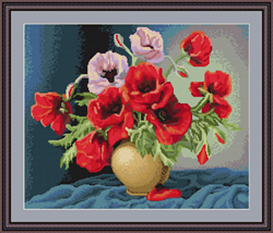 Borduurpakket Vase with Poppies - Luca-S