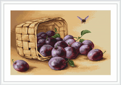 Borduurpakket Basket of plums - Luca-S