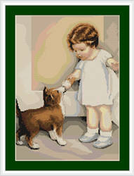 Petit Point Borduurpakket Girl with Puppy - Luca-S