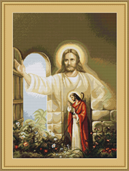 Petit Point Borduurpakket Jesus Knocking at the Door - Luca-S