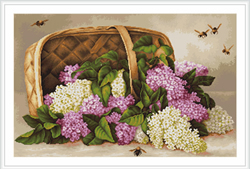 Petit Point Borduurpakket Basket of lilacs - Luca-S
