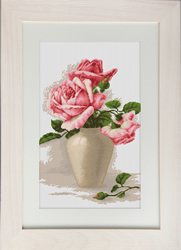 Petit Point Borduurpakket Pink Roses in Vase - Luca-S