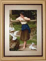 Petit Point Borduurpakket The Girl Playing with Pigeons - Luca-S