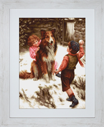 Petit Point Borduurpakket Snowball Fight - Luca-S