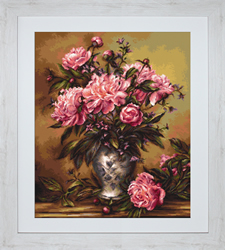 Petit Point Borduurpakket Vase of Peonies - Luca-S