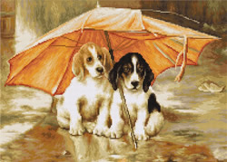 Petit Point Borduurpakket Couple under an Umbrella - Luca-S