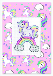Borduurpakket Postcard Unicorn Rainbow - Luca-S