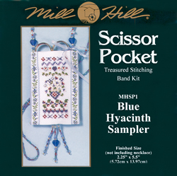 Borduurpakket Scissor Pocket, Blue Hyacinth Sampler - Mill Hill