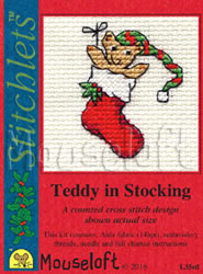 Borduurpakket Teddy in Stocking - Mouseloft