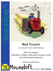 Cross stitch kit Red Tractor - Mouseloft