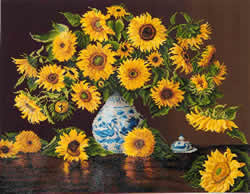 Diamond Dotz Sunflowers in a china vase - Needleart World