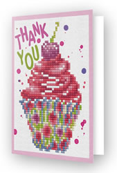 Diamond Dotz Greeting Card Cup Cake Thank You - Needleart World