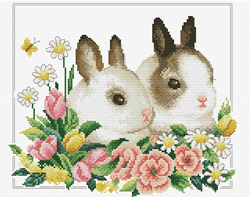 Voorbedrukt borduurpakket Spring Bunnies - Needleart World