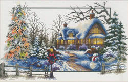 Voorbedrukt borduurpakket Winter Cottage - Needleart World