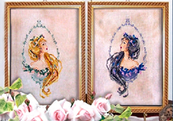 Borduurpatroon Blond and Brunette Cameos - Passione Ricamo
