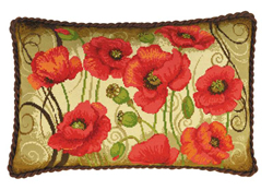 Borduurpakket Oriental Poppies Cushion - RIOLIS