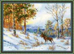 Borduurpakket Elk in a Winter Forest - RIOLIS