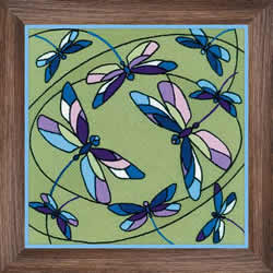 Borduurpakket Cushion/Panel Stained Glass Window - Dragonflies - RIOLIS