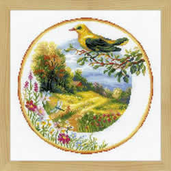 Borduurpakket Plate with Great Tit - RIOLIS