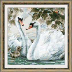 Cross stitch kit White Swans - Borduurpakket