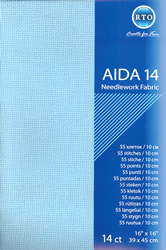 Borduurstof Aida 14 count - Blue - RTO