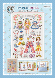 Borduurpatroon Paper Doll Alice in Wonderland - Soda Stitch