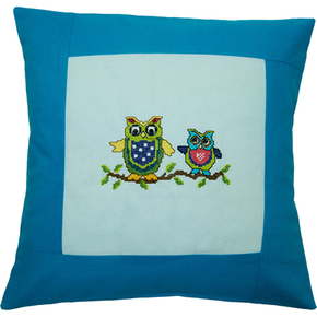Pillow 40 x 40cm Lt.blue-Turquoise Counted X-Stitch - Duftin