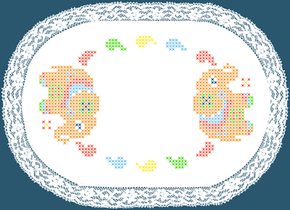 Colour print Doily 20 x 30 cm White Pre-stamped - Duftin