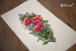 Borduurpakket Vintage Poppies - Merejka