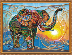 Bead Embroidery kit Mosaic Elephant - Abris Art