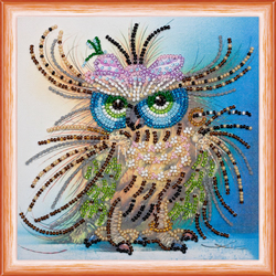 Bead Embroidery kit Owl and Bow - Abris Art