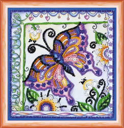 Bead Embroidery kit Butterfly in Flowers - Abris Art