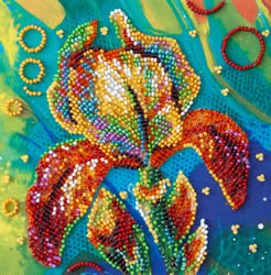 Bead Embroidery kit Multicolored Iris - Abris Art