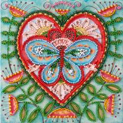 Bead Embroidery kit Summer Heart - Abris Art