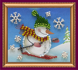 Bead Embroidery kit Snowman - 2 - Abris Art