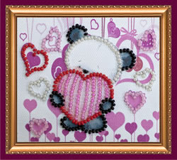 Bead Embroidery kit Bear and Hearts - Abris Art
