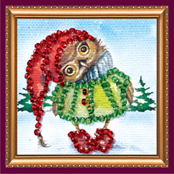 Bead Embroidery kit Owl - 2 - Abris Art