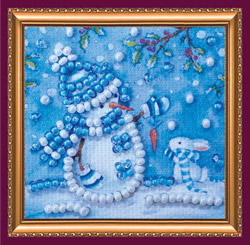 Bead Embroidery kit Snowman and Bunny - Abris Art
