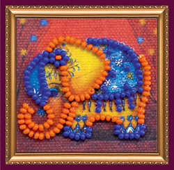 Bead Embroidery kit Orange Elephant - Abris Art